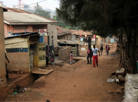 Street view of Kamwokya: The Street in which Charles Batte grew up. Photo: Julia Seifert