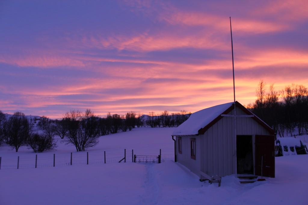 Nord: Overgang fra dag til kveld i en av Norges virkemiddelkommuner. Lyset er dog ikke subsidiert fra staten.  / Foto: Marie Midtlid