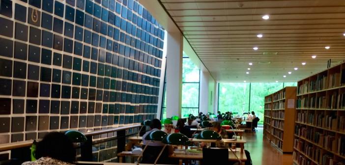 Kjell Torrisets 836 øyne hviler på studentene mens bjørketrærne i hagen foran biblioteket lyser gjennom glassfasaden. Foto: Kai Schlüter.