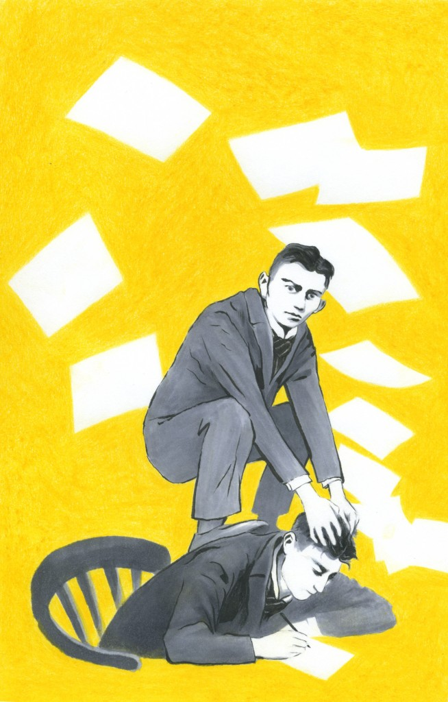 """""""Mer enn én gang denne natten bar jeg vekten av meg selv på ryggen"""" - Franz Kafka  (Illustrasjon: Åsne D. Grøgaard)"""