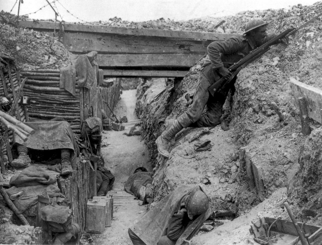1914: Mykje av krigen vart kjempe i djupe skyttergravar. Foto: John Warwick Brooke/Imperial War Museums Collection