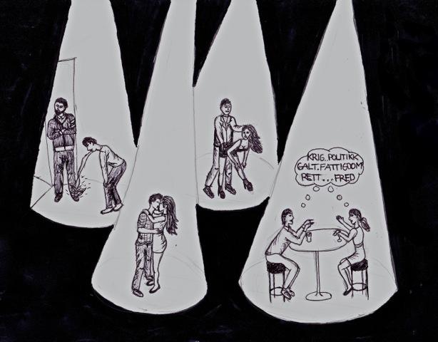 Alkoholens makt i full utfoldelse. Illustrasjon: Anja Mykland