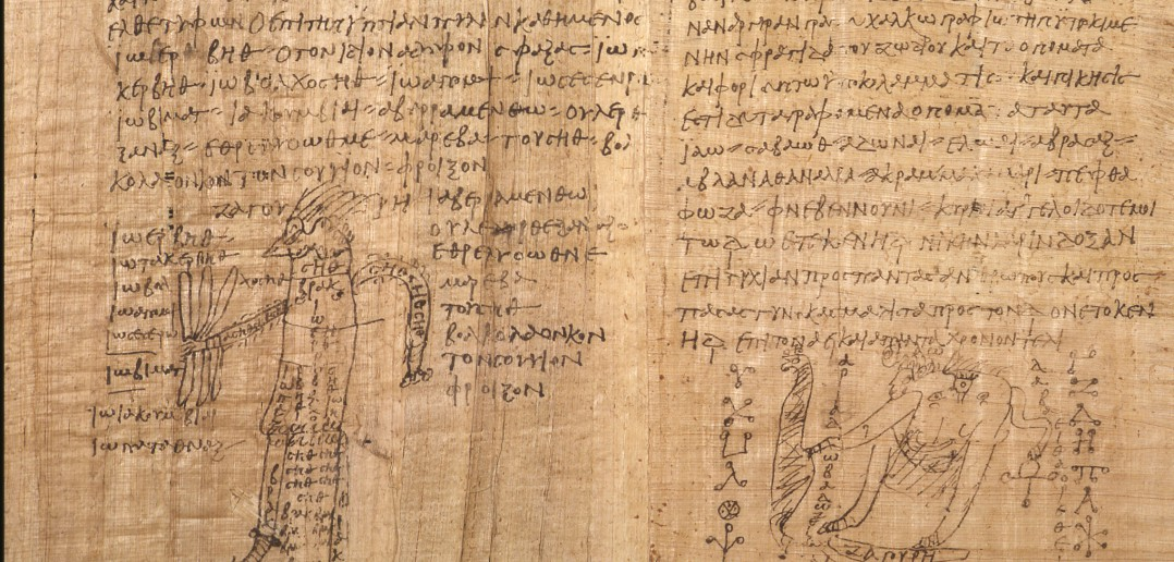 Utsnitt fra en av de magiske papyrene. Foto: Universitetetsbiblioteket.